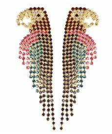Yeni Tasarım Moda 2019 Rose Gold Uzun Drop Küpeler Lüks Kristal Papağan Küpe
