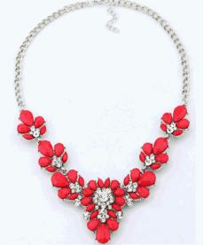 Chokers Kristal Çiçek Kırmızı Kolye Gerdanlık Kolye Bayan Takı Modelleri