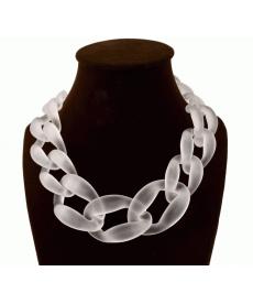 Moda Takı Neon Beyaz Geometrik Tasarım Gerdanlık Zincir Kolye