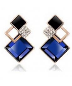 Yeni Moda Tarz Küpe Mavi Kristal Taşlı Küpeler Hint Küpe