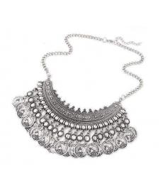 Yeni Model Kolye Marka Tasarım Gümüş Renk Osmanlı Motifli Yaka Gerdanlık Kolye