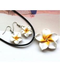 Popüler Hawaii Beyaz Çiçekler Polimer Kil Küpe ve Kolye Takı Setleri
