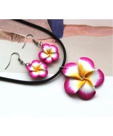 Popüler Hawaii Kırmızı Çiçekler Polimer Kil Küpe ve Kolye Takı Setleri