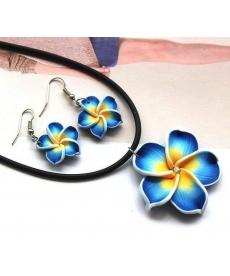 Popüler Hawaii Mavi Çiçekler Polimer Kil Küpe ve Kolye Takı Setleri