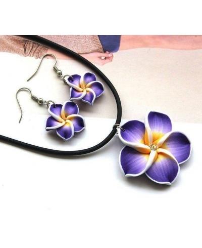 Popüler Hawaii Mor Çiçekler Polimer Kil Küpe ve Kolye Takı Setleri